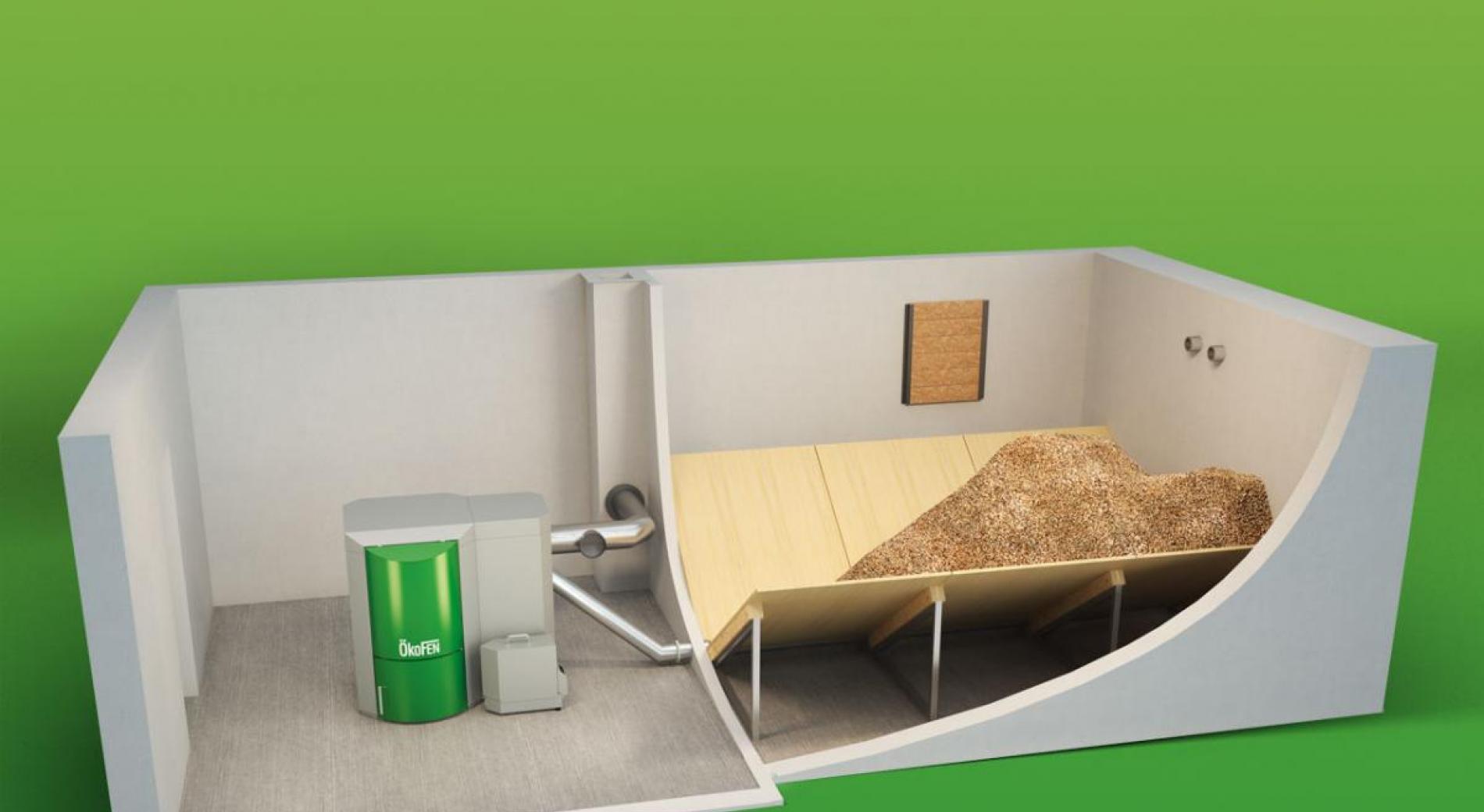 Principe d'installation avec silo maçonné et alimentation par vis