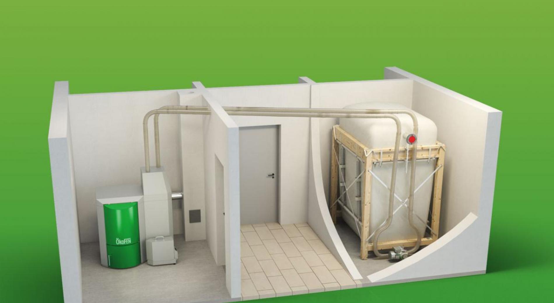 Principe d'installation avec silo textile compact et alimentation par aspiration