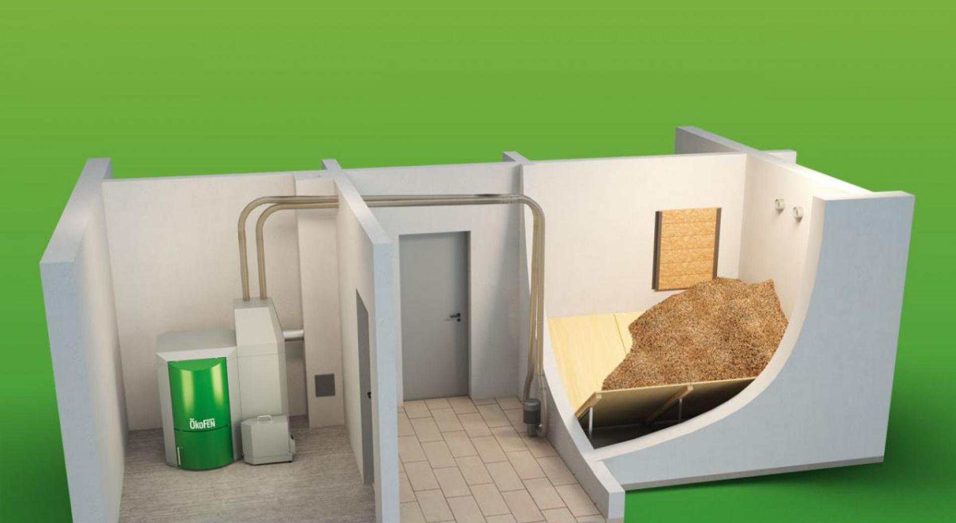 Principe d'installation avec silo maçonné et alimentation par aspiration